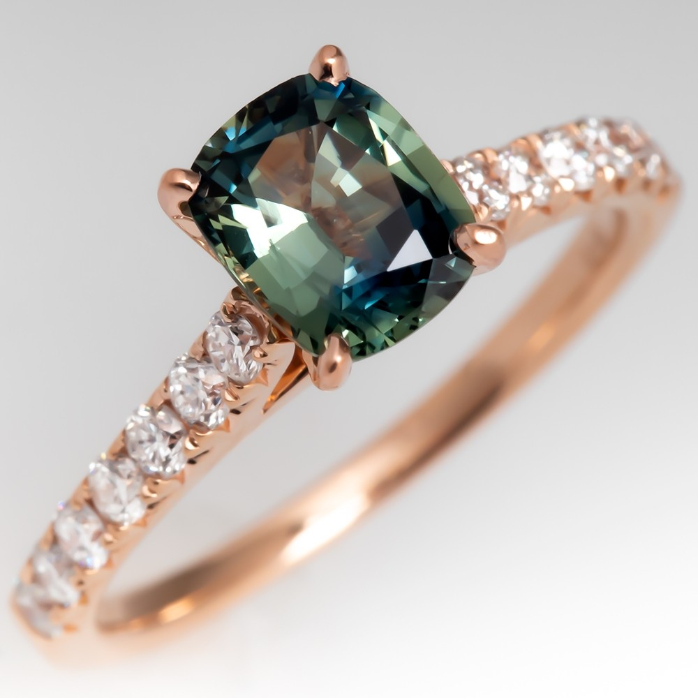 Beautiful Green Blue Sapphire & Diamond Engagement Ring 14K Rose Gold