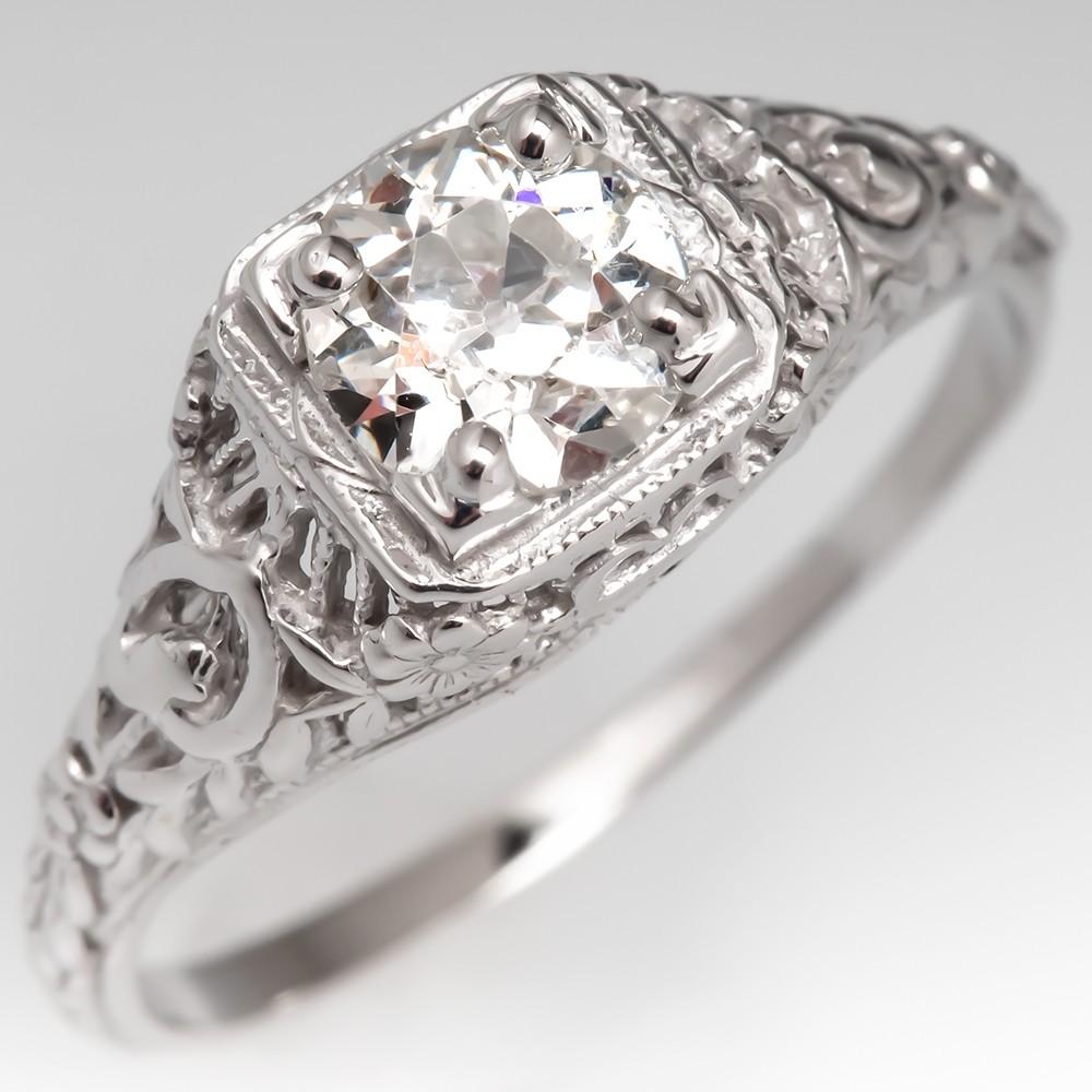 Vintage Ornate Filigree Diamond Engagement Ring 14K White Gold