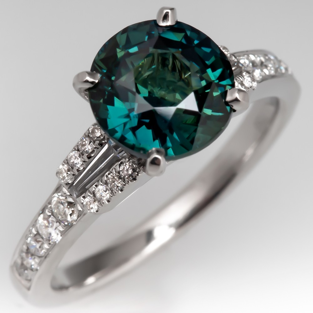 Teal Blue Green Sapphire Ring w/ Diamond Accents 18K White Gold