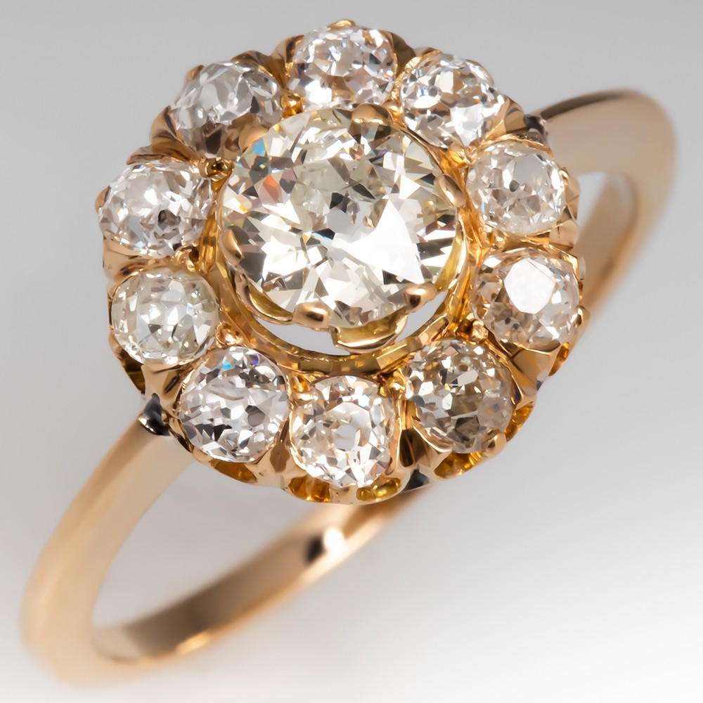 Beautiful Victorian Era Halo Diamond Engagement Ring 14K Gold