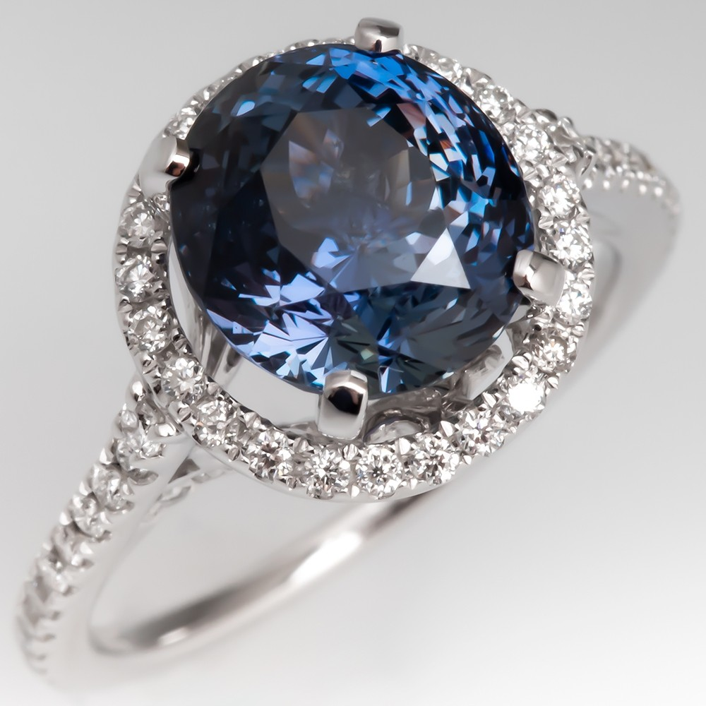 Color Change Sapphire & Diamond Ring 14K White Gold