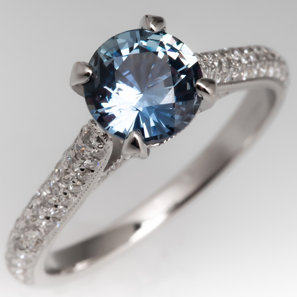 Icy Green Blue Natural No Heat Sapphire Ring 18K White Gold