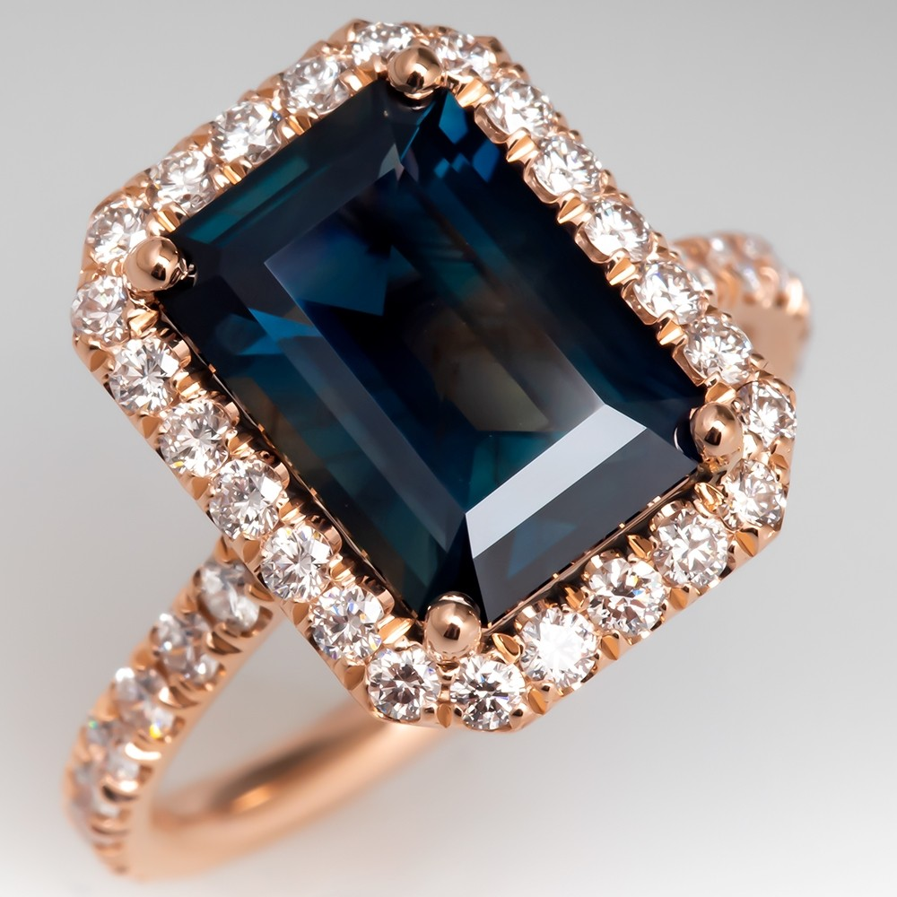 Dark Green Blue Sapphire & Diamond 14K Rose Gold Halo Ring
