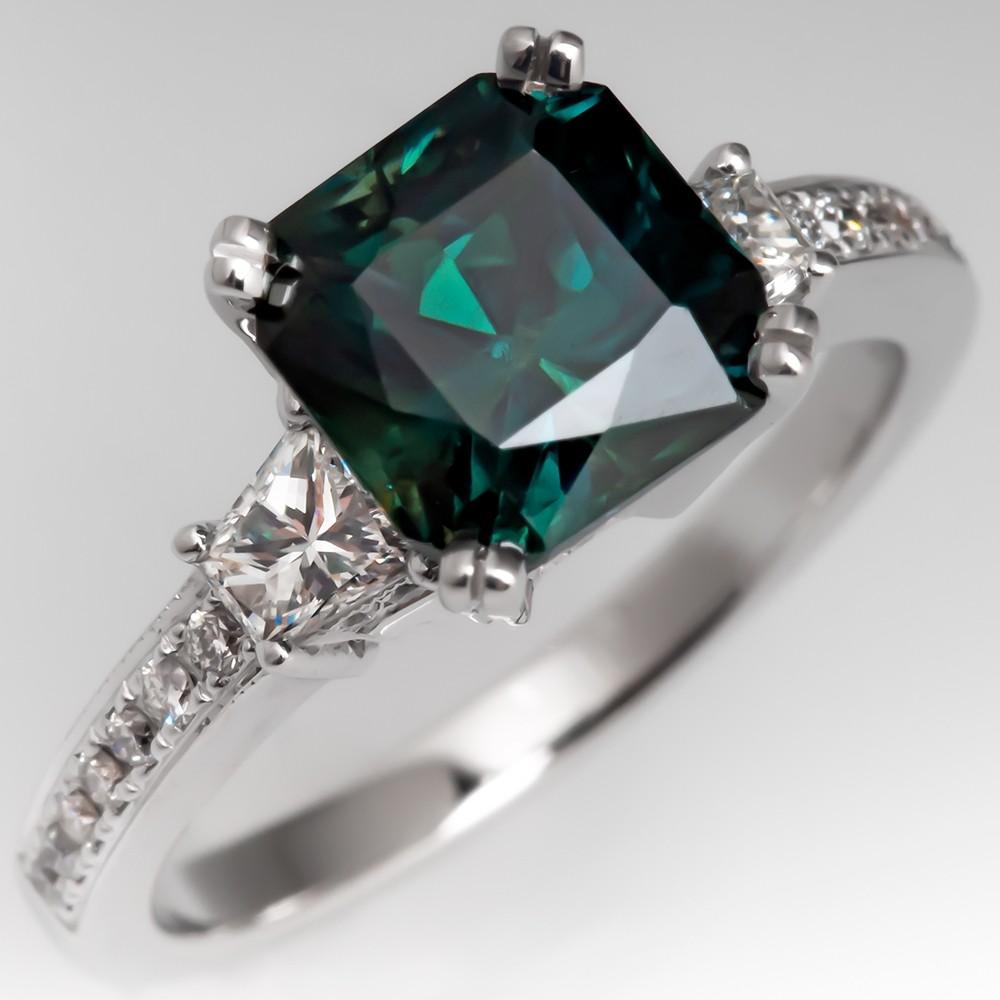 Square Cut Teal Sapphire Ring Diamond 14K White Gold Natalie K Mounting