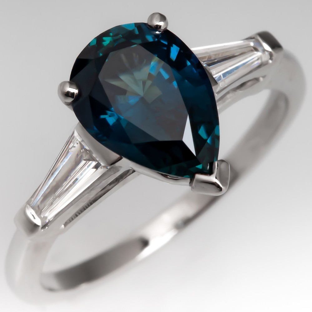 Pear Cut Teal Sapphire Engagement Ring Platinum