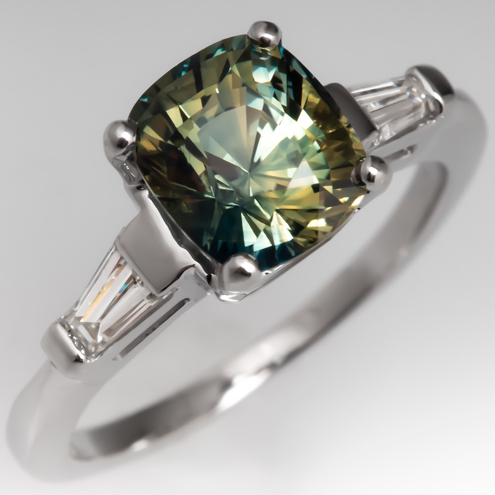 Natural Bi Color Green Sapphire & Diamond Ring Platinum