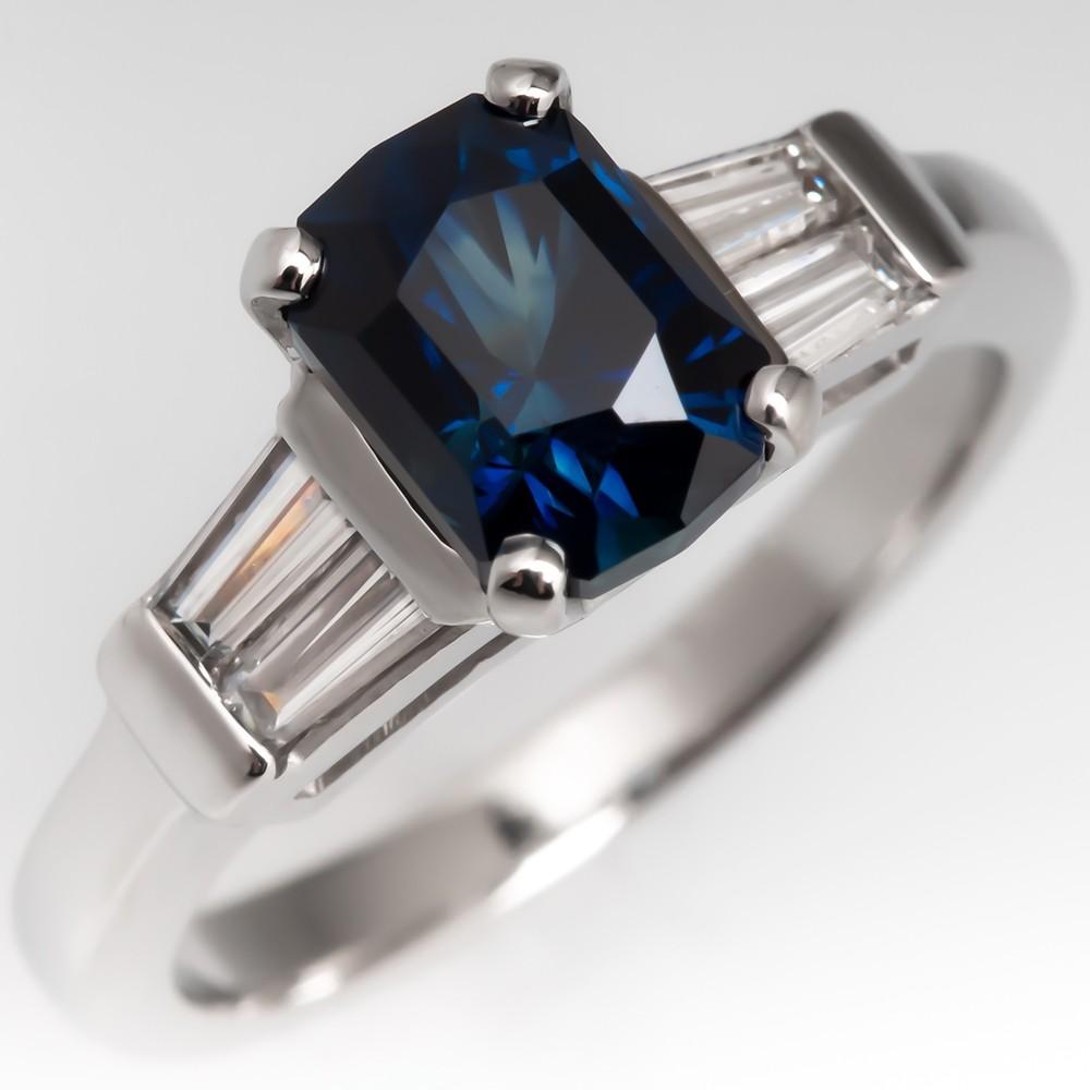 Vivid Greenish Blue Sapphire & Tapered Baguette Diamond Ring Platinum