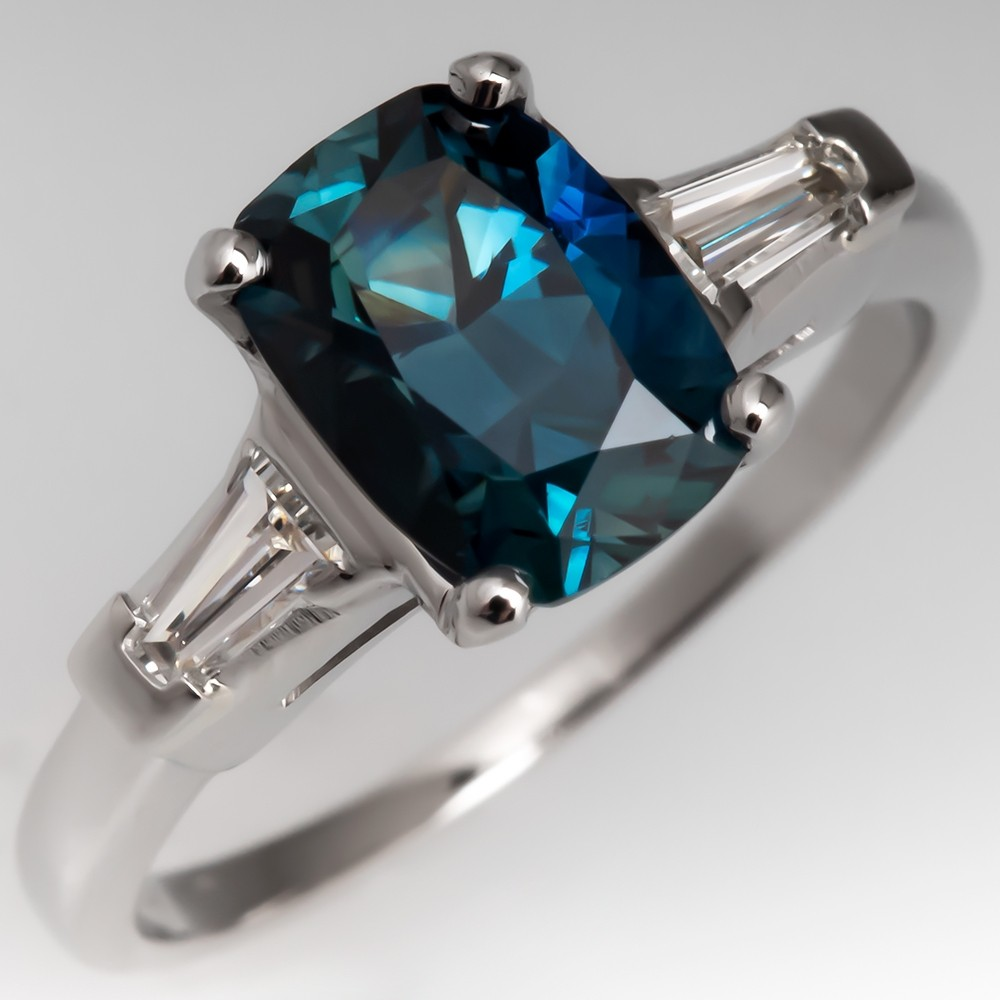 Cushion Cut Teal Blue Green Sapphire & Diamond Ring Vintage Platinum