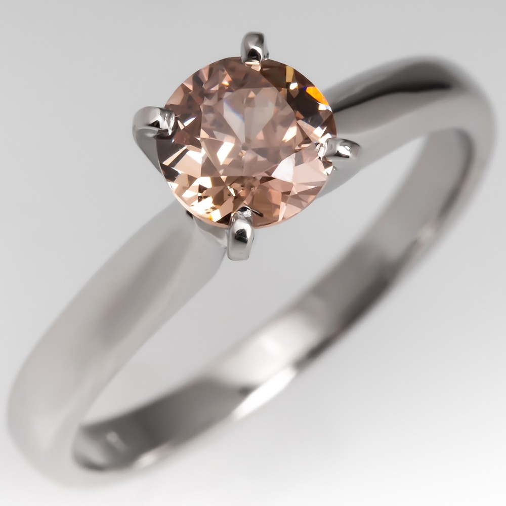Fancy Orange Brown Diamond Solitaire Engagement Ring Platinum GIA