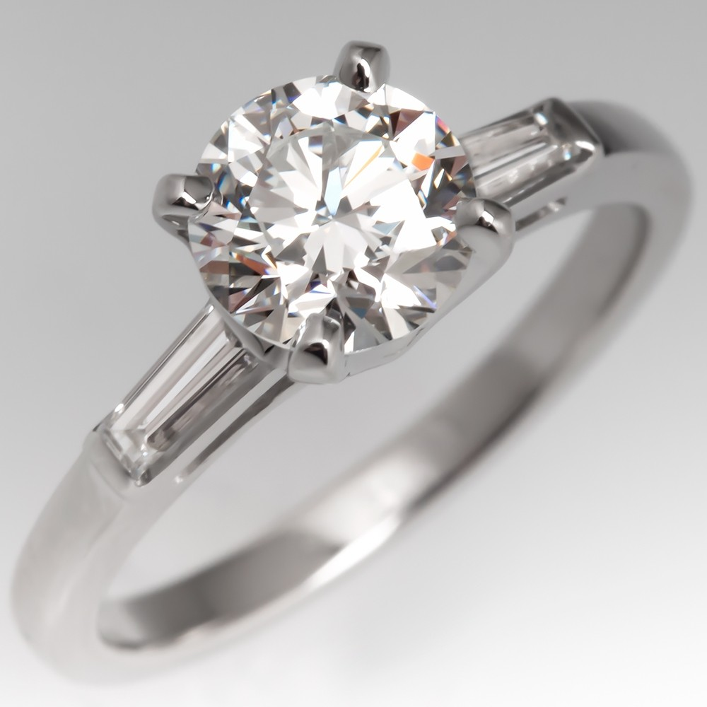 Classic Vintage Diamond Engagement Ring W Tapered Baguette Platinum Gia