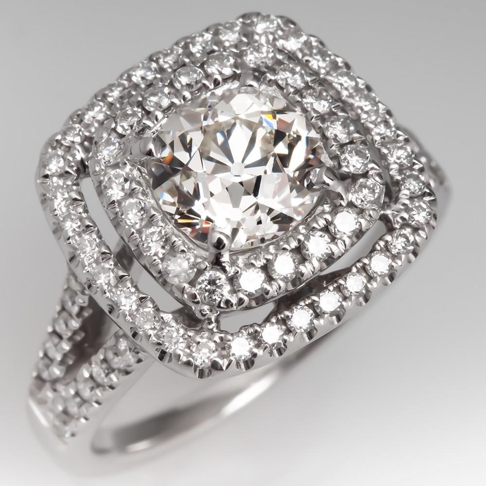 Heirloom Old Euro Cut Diamond w/ Modern 18K White Gold Double Halo