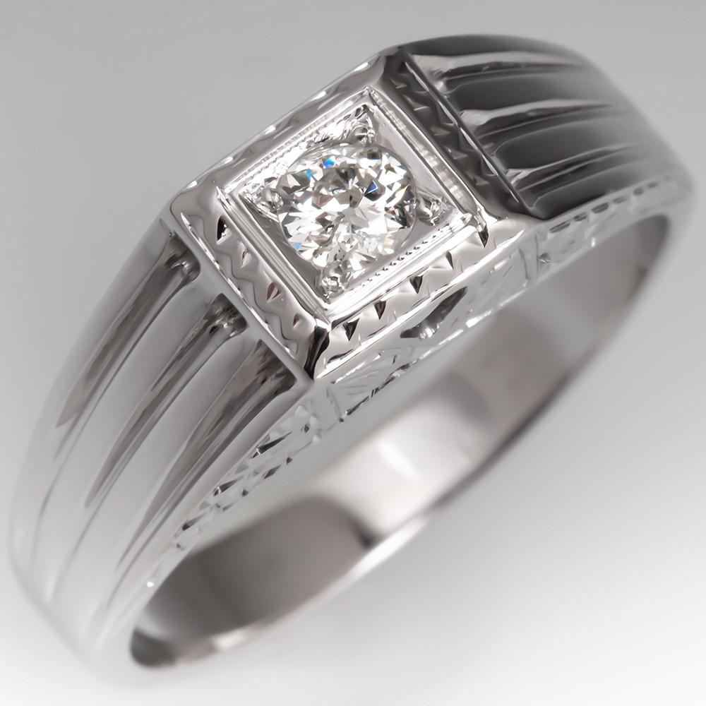 Antique Mens Diamond Wedding Ring 18K White Gold