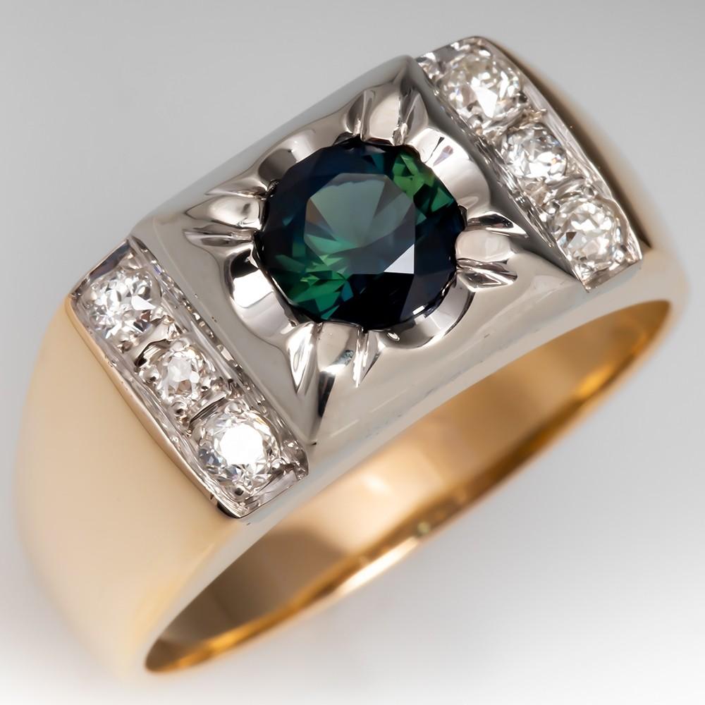 Vintage Mens Blue Green Sapphire & Diamond Ring 14K Gold 1950's