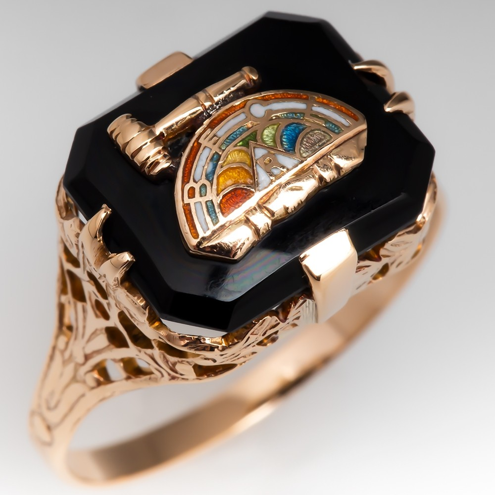 Masonic International Order of the Rainbow for Girls Ring 10K Gold BFCLR