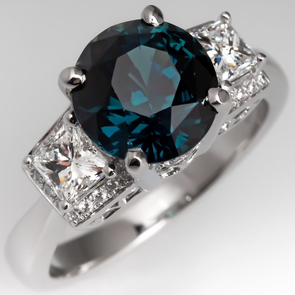 Magnificent Teal Sapphire & Diamond Ring 14K White Gold