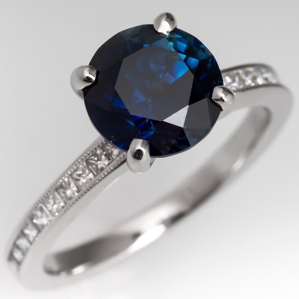 Deep Teal Sapphire Engagement Ring 14K White Gold w/ Diamonds