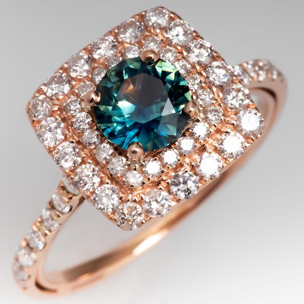 Beautiful Teal Sapphire & Diamond Halo Ring 14K Rose Gold