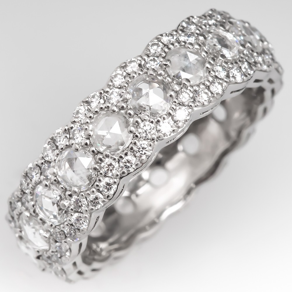 b6e20d774 Tiffany & Co Cobblestone Band Ring Platinum Rose Cut Diamonds ...
