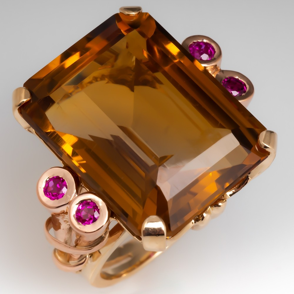 Retro Vintage Citrine & Ruby Cocktail Ring 14K Yellow & Rose Gold