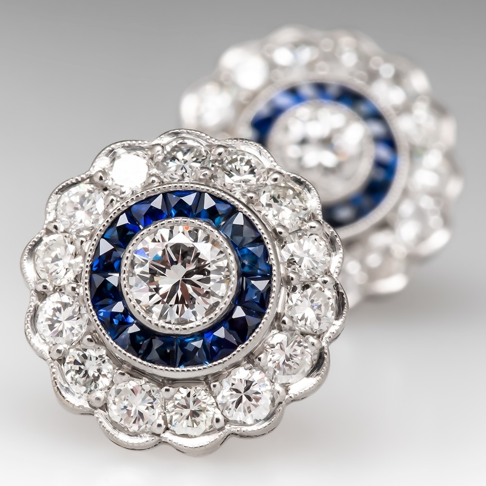 Beautiful Diamond & Sapphire Halo Stud Earrings Platinum