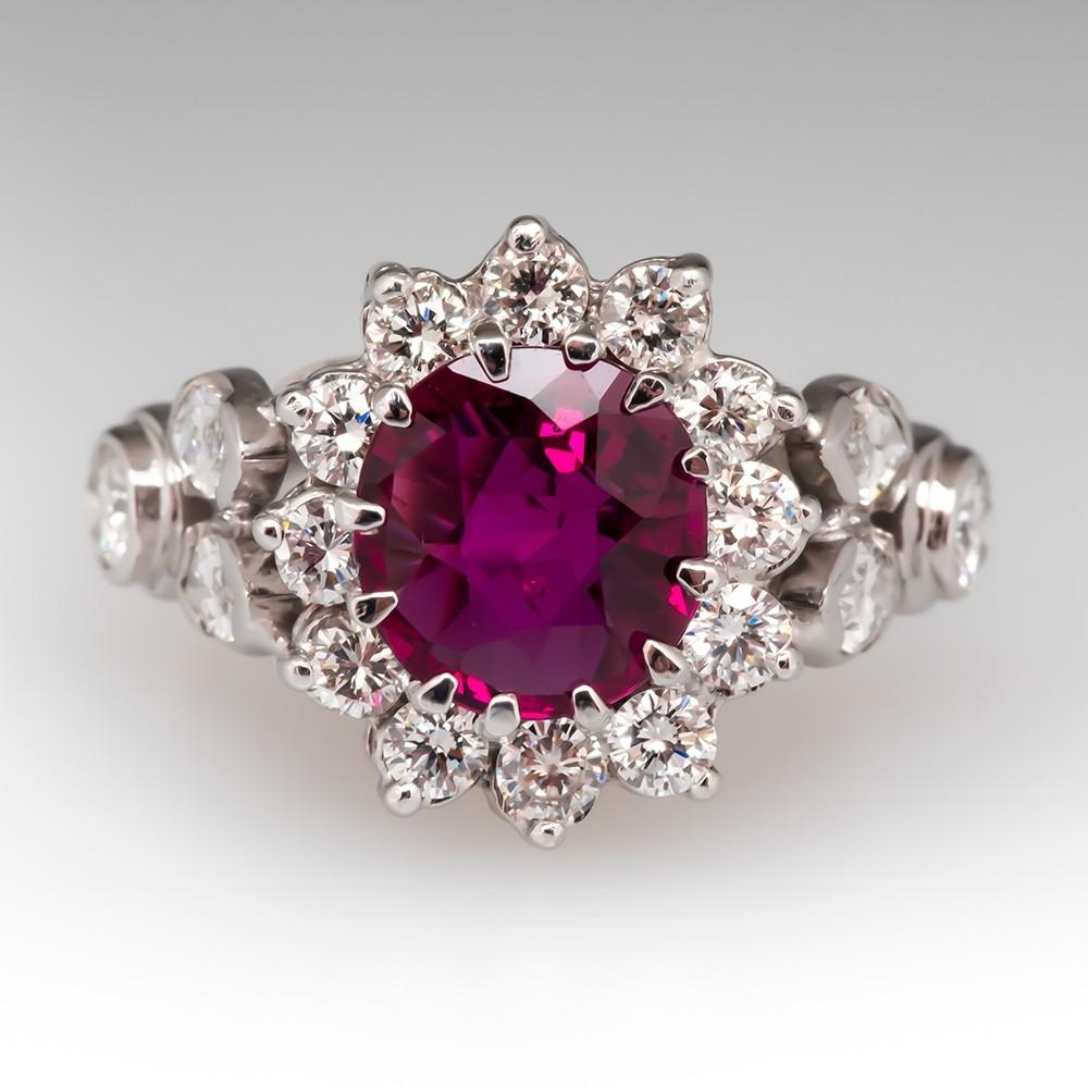 Vintage Ruby & Diamond Halo Ring 18K White Gold
