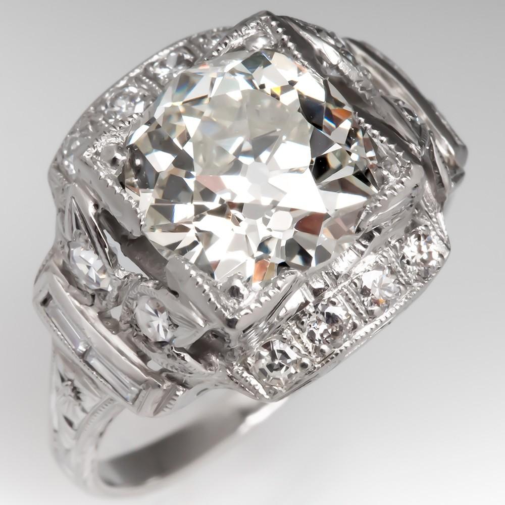 GIA 2.6 Carat Old Mine Cut Diamond Art Deco Engagement Ring 1920's
