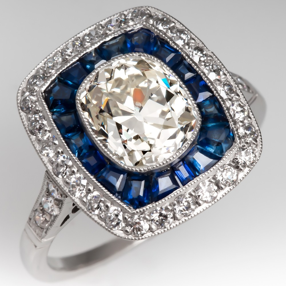 Heirloom Old Mine Cut Diamond in Deco Style Sapphire Halo Ring Platinum