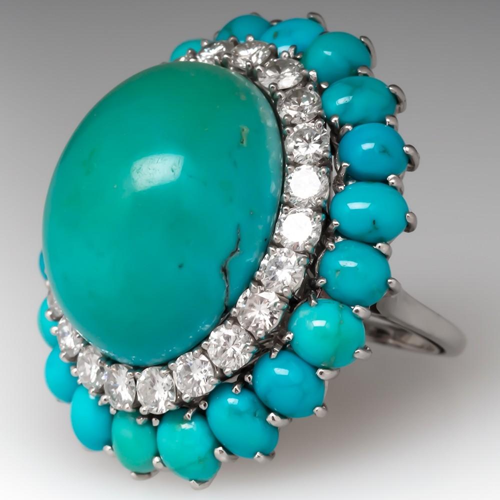 Amazing 1950's Boucheron Turquoise & Diamond Cocktail Ring Platinum