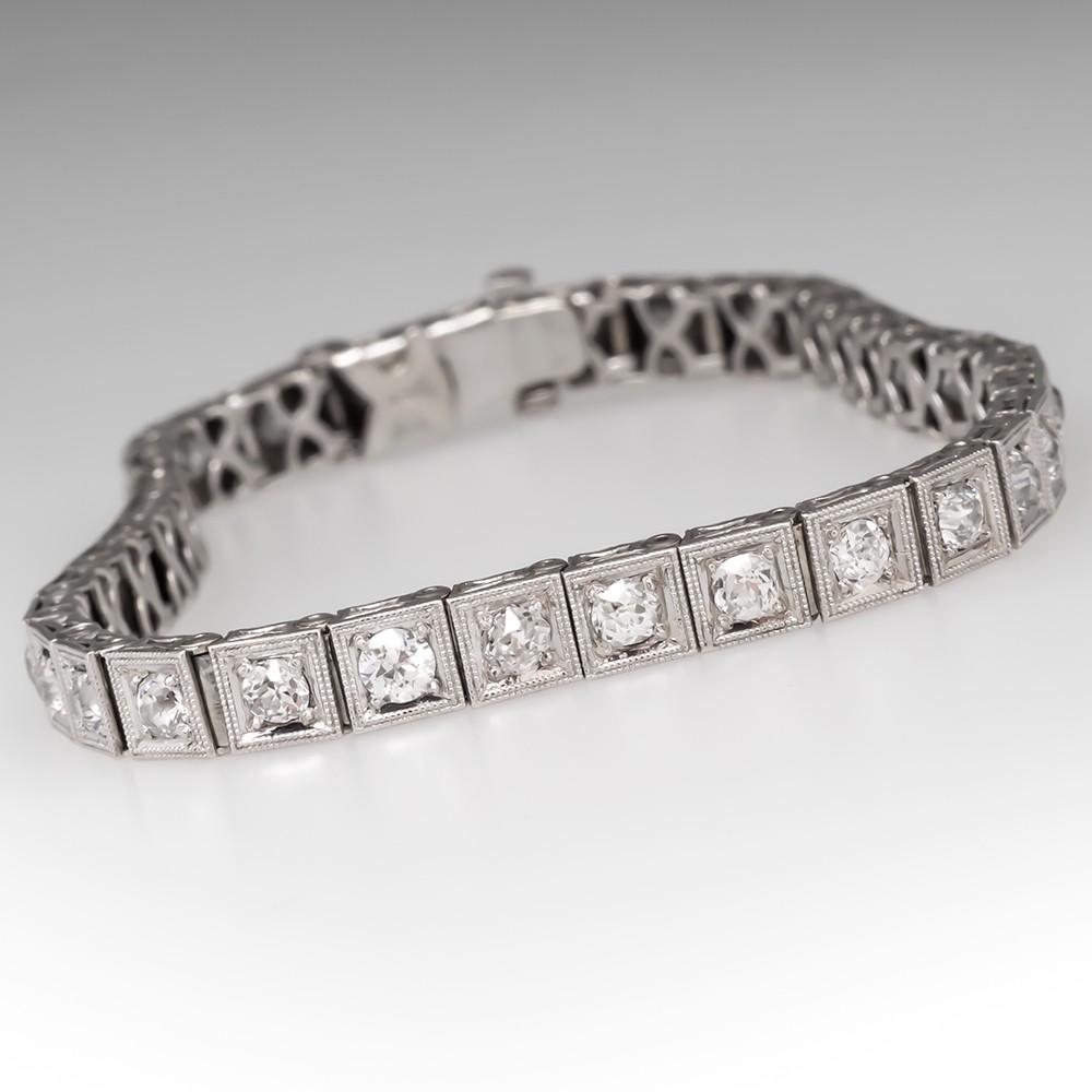 2.4 Carat Beautiful Late Art Deco Old Euro Diamond Tennis Bracelet