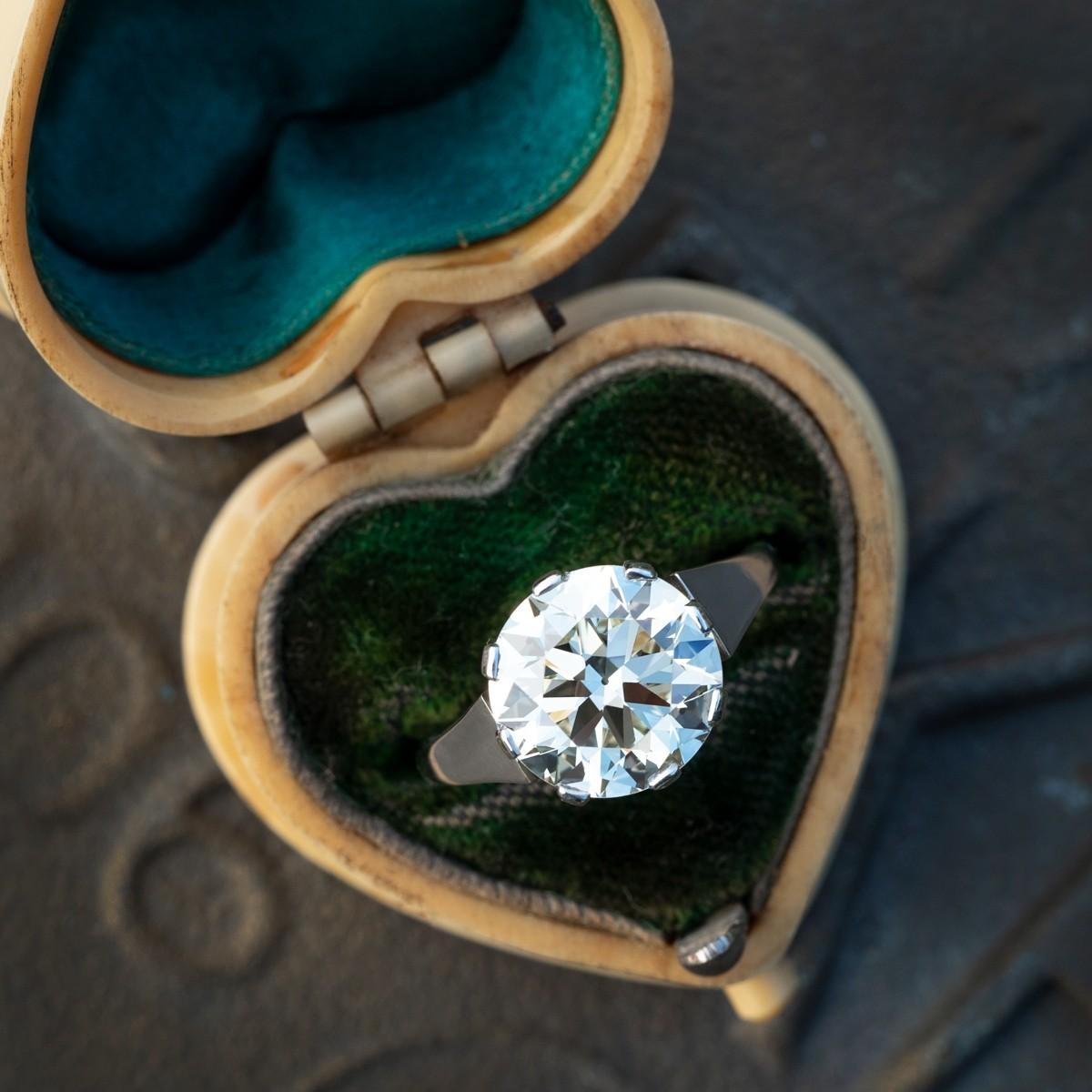 3 Carat Transitional Cut Diamond Solitaire Ring Platinum 1940's