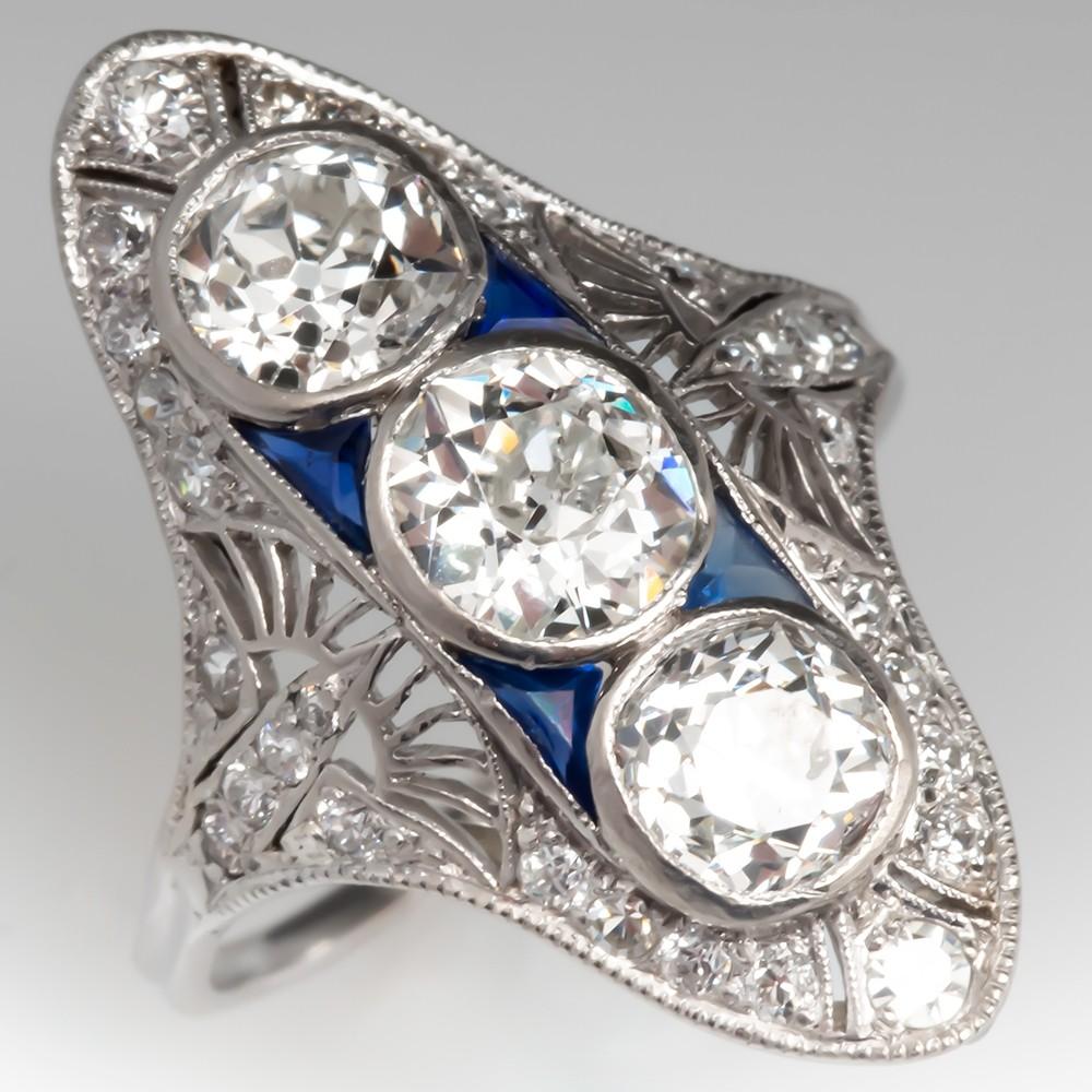 1910's Edwardian Three Stone Diamond Dinner Ring
