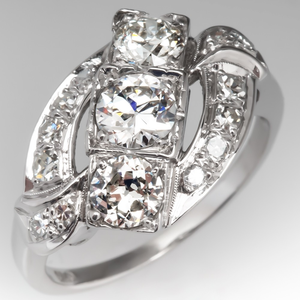 Vintage Three Stone Diamond Ring 14K White Gold