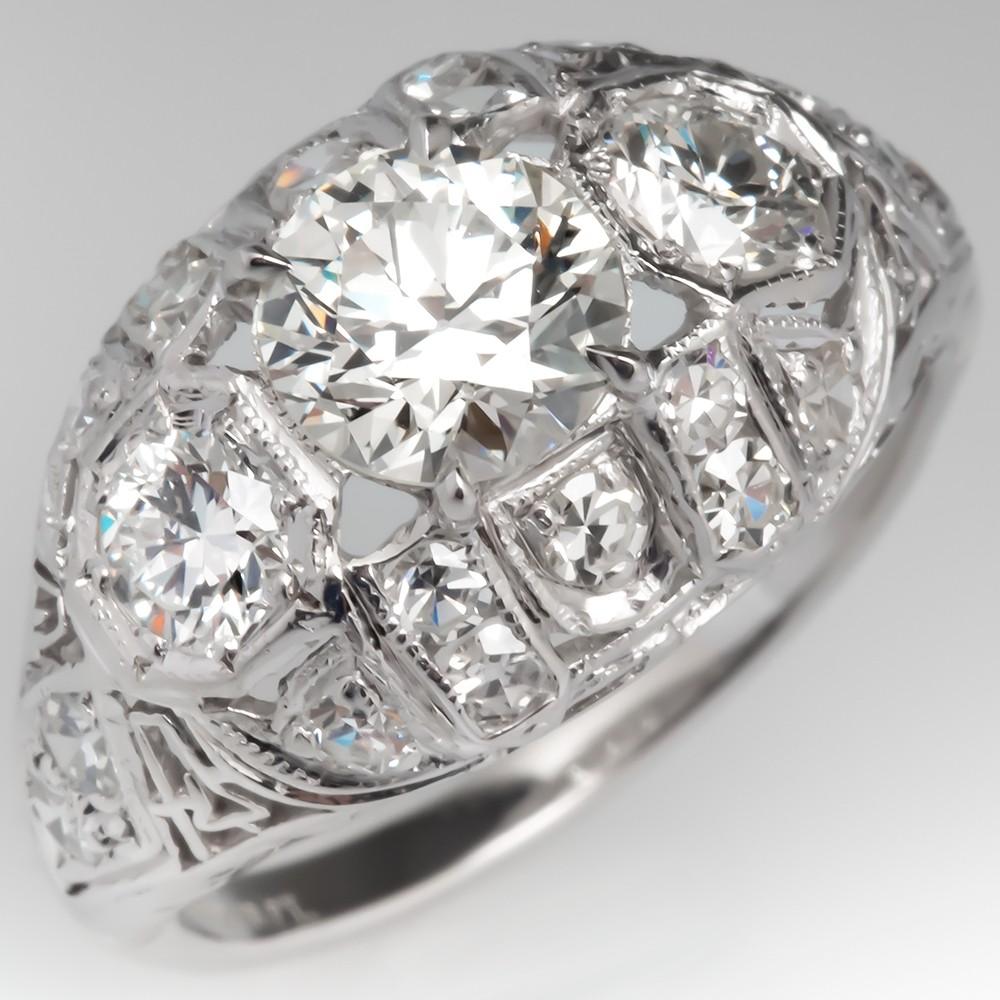 Art Deco Transitional Cut Diamond Engagement Ring Platinum Filigree