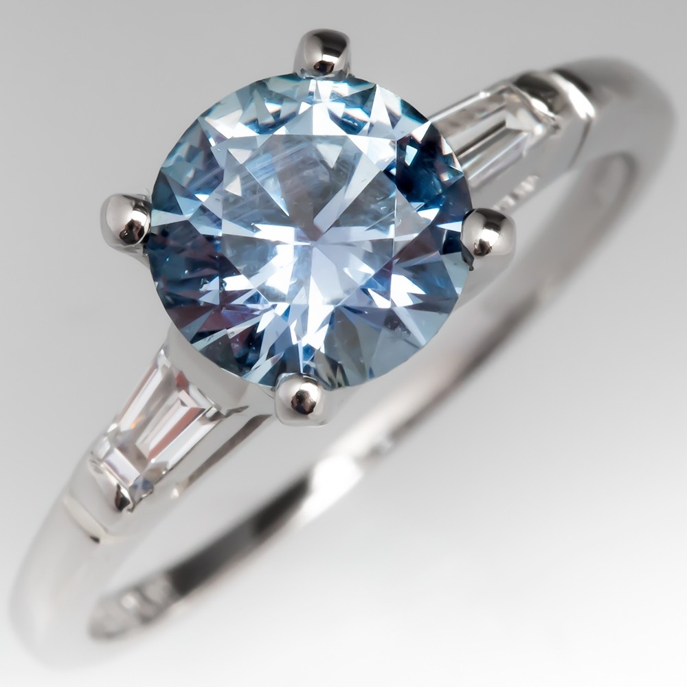Steel Blue No Heat Montana Sapphire Engagement Ring Vintage Mounting