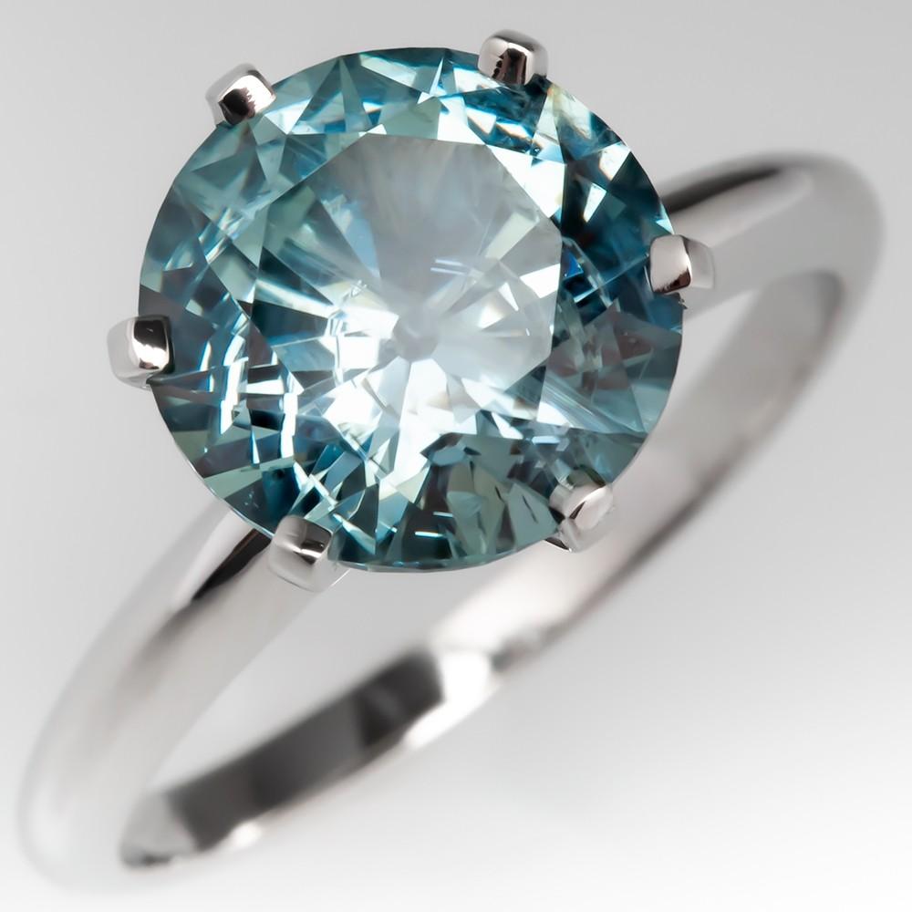 4 Carat No Heat Montana Sapphire Solitaire Engagement Ring Platinum