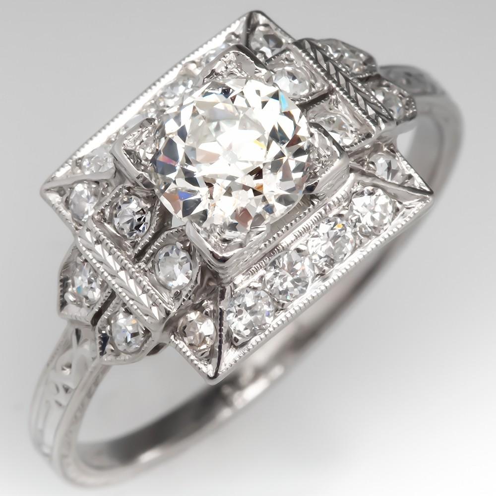 1930's Antique Art Deco Diamond Engagement Ring Platinum
