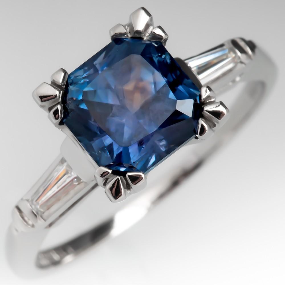 No Heat Violet Blue Montana Sapphire Engagement Ring Platinum