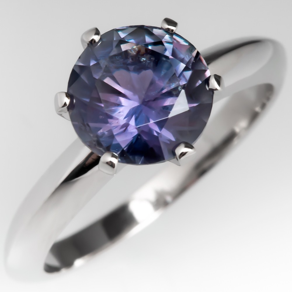 No Heat Violet Purple Montana Sapphire Solitaire Engagement Ring Platinum