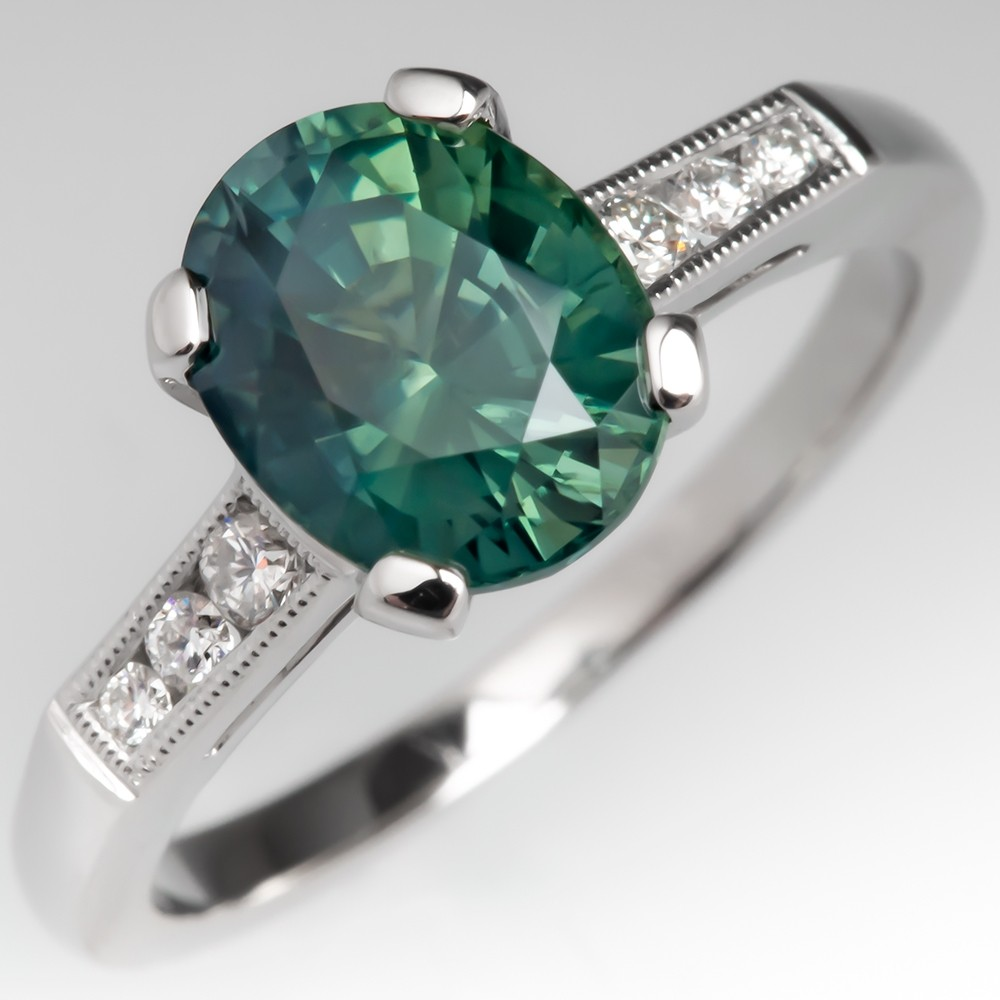 Natural Greenish Blue Sapphire & Diamond Engagement Ring Platinum