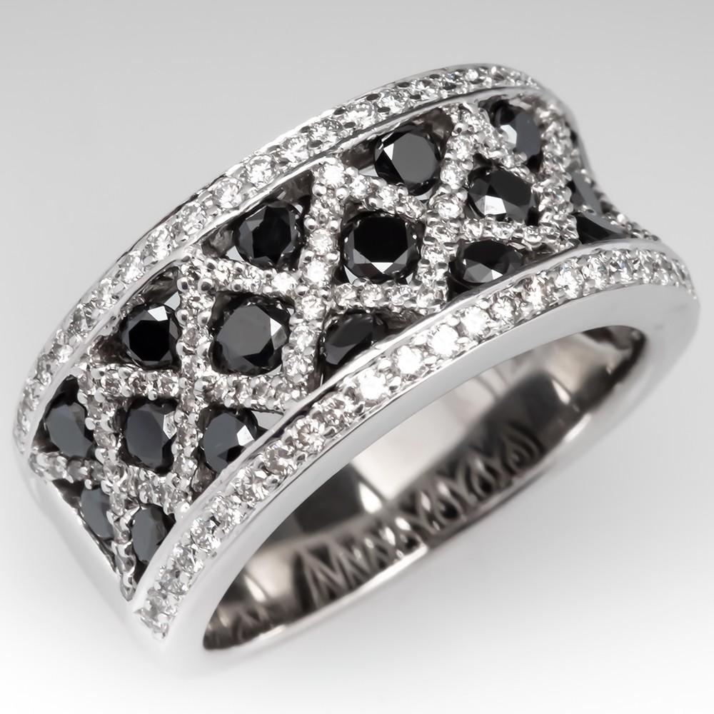 Spark Designs Black & White Diamond Band Ring 18K White Gold