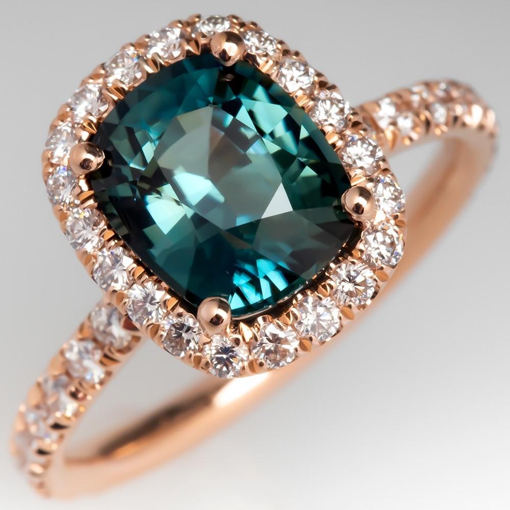 Rose Gold No Heat Sapphire Diamond Halo Engagement Ring