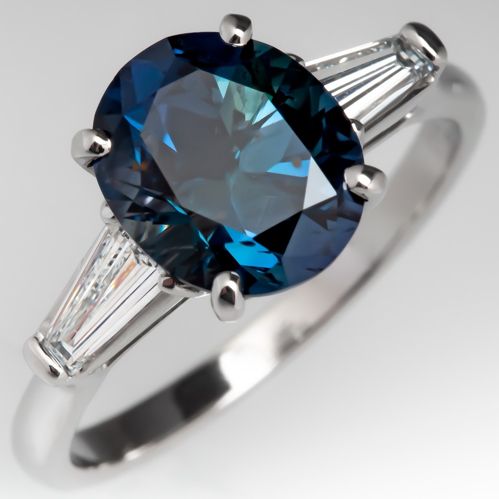 3 Carat Oval Green Blue Sapphire Engagement Ring w/ Baguette Diamonds