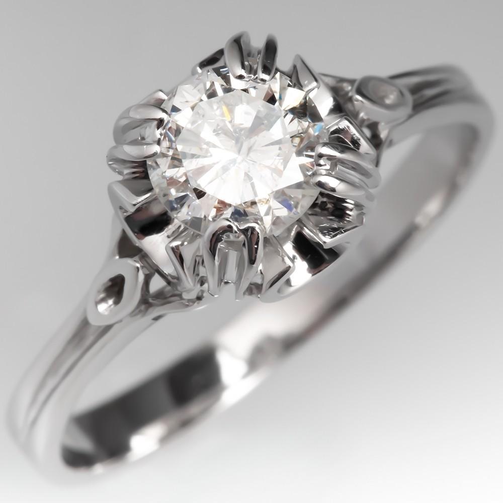 Unique Diamond Solitaire Engagement Ring 18K White Gold