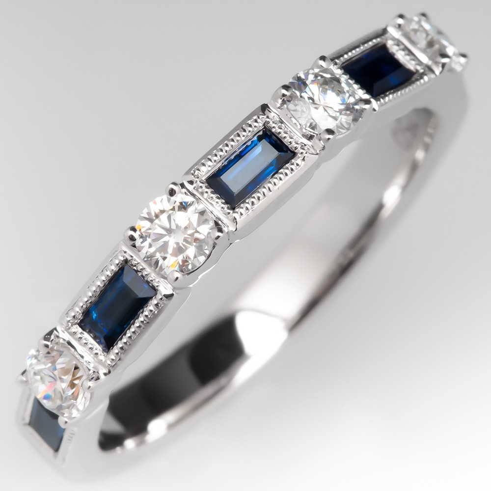 Baguette Cut Blue Sapphire & Diamond Wedding Band Ring 18K White Gold