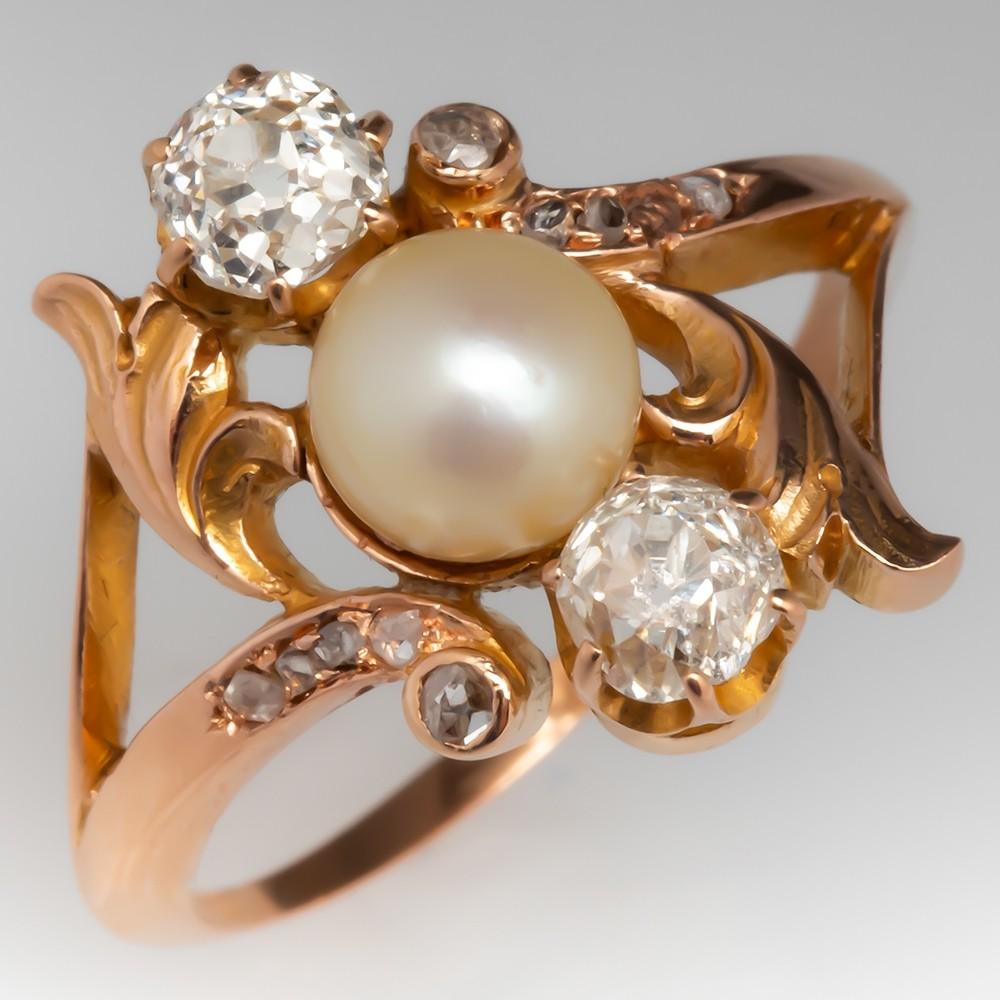 1900's Victorian Pearl & Old Mine Cut Diamond Ring 18K Rose Gold