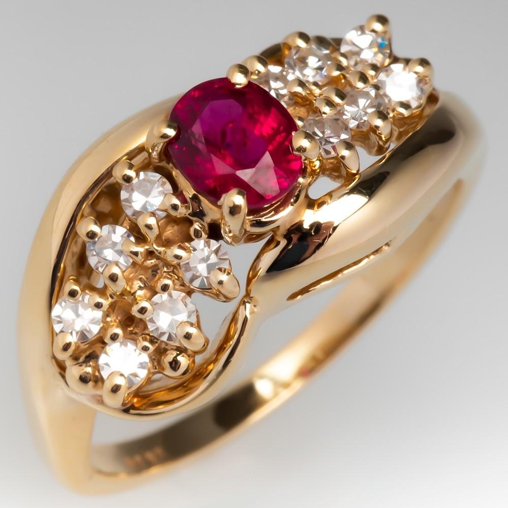 Estate Natural Ruby & Diamond Ring 14K Gold