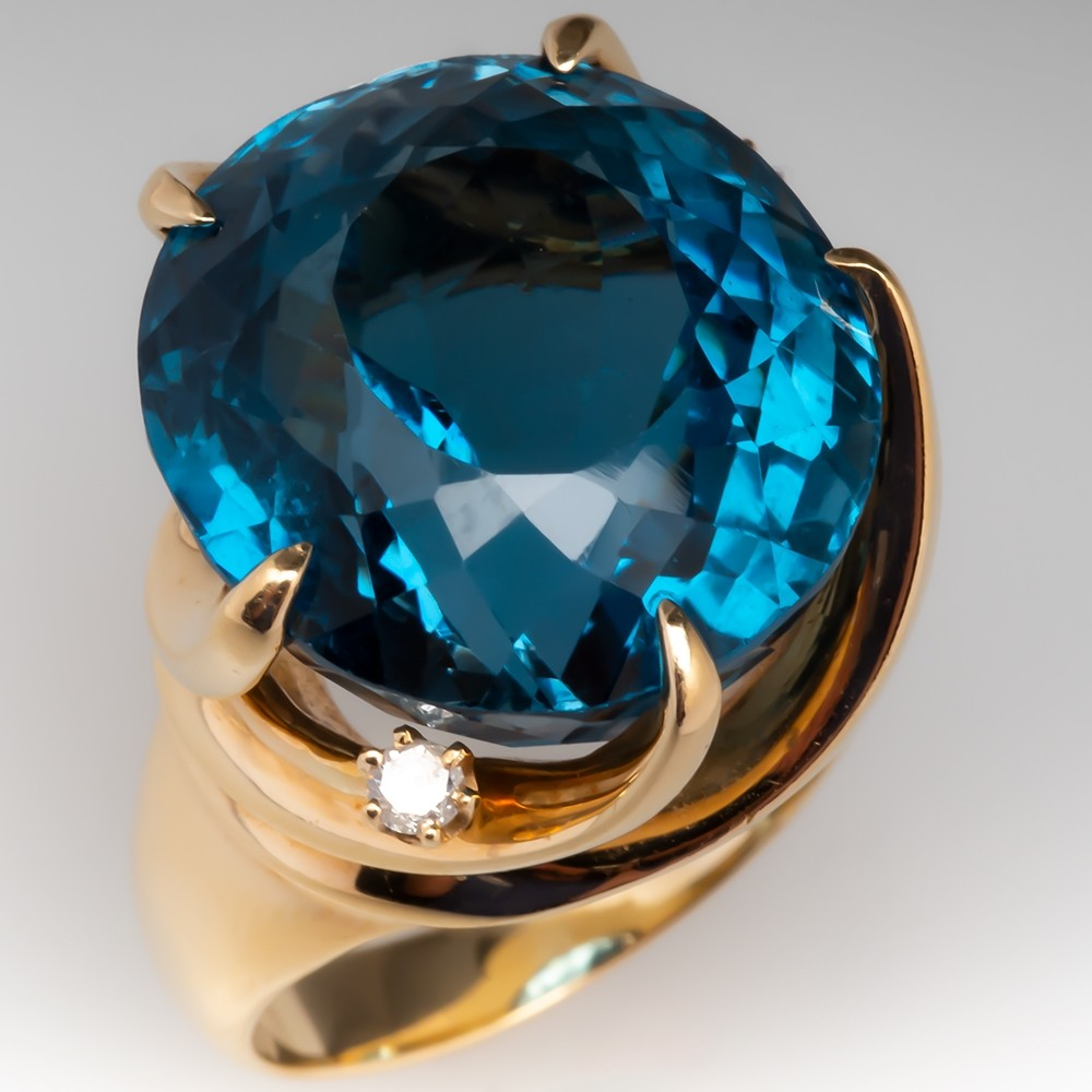 Massive Blue Topaz Estate Cocktail Ring 14K Gold
