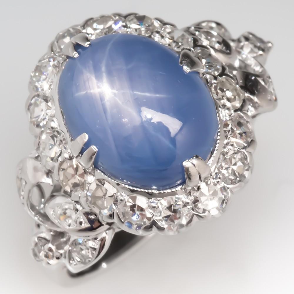 Vintage Star Sapphire & Diamond Cocktail Ring 18K White Gold