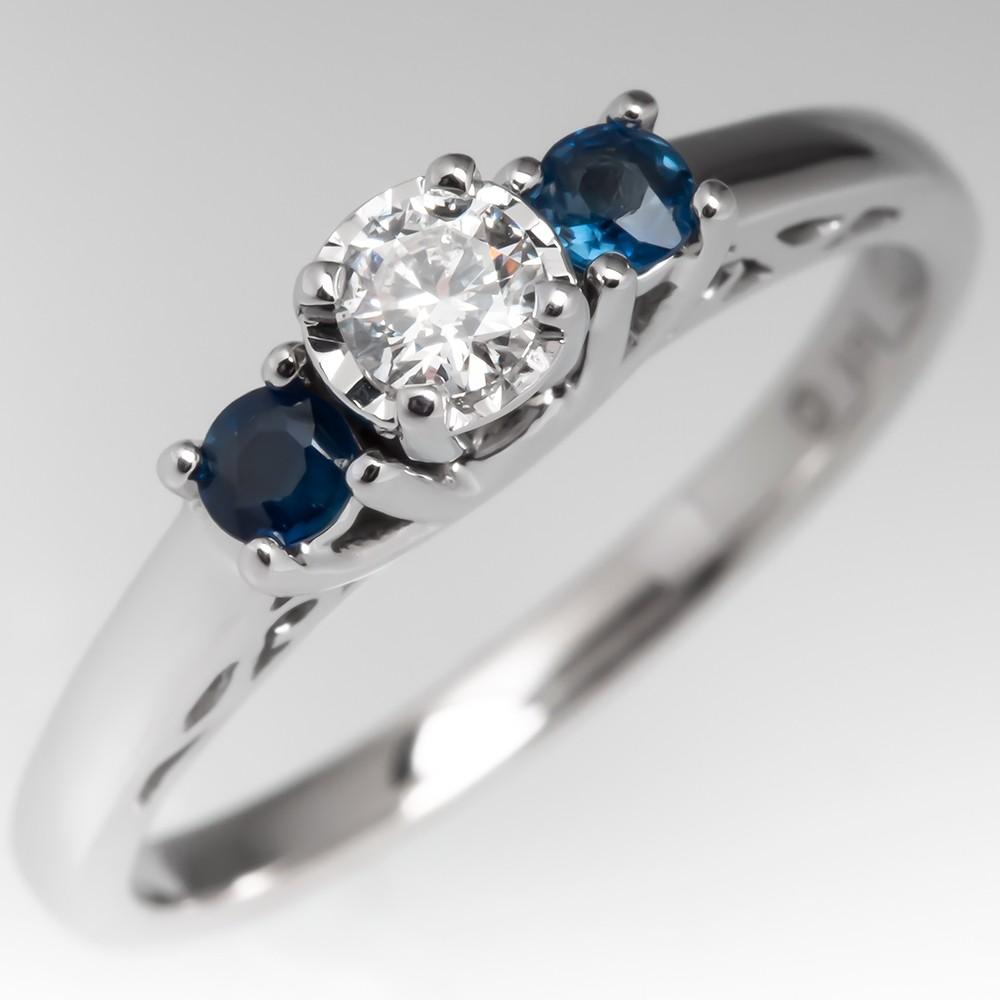 Diamond & Blue Sapphire Three Stone Engagement Ring 14K White Gold