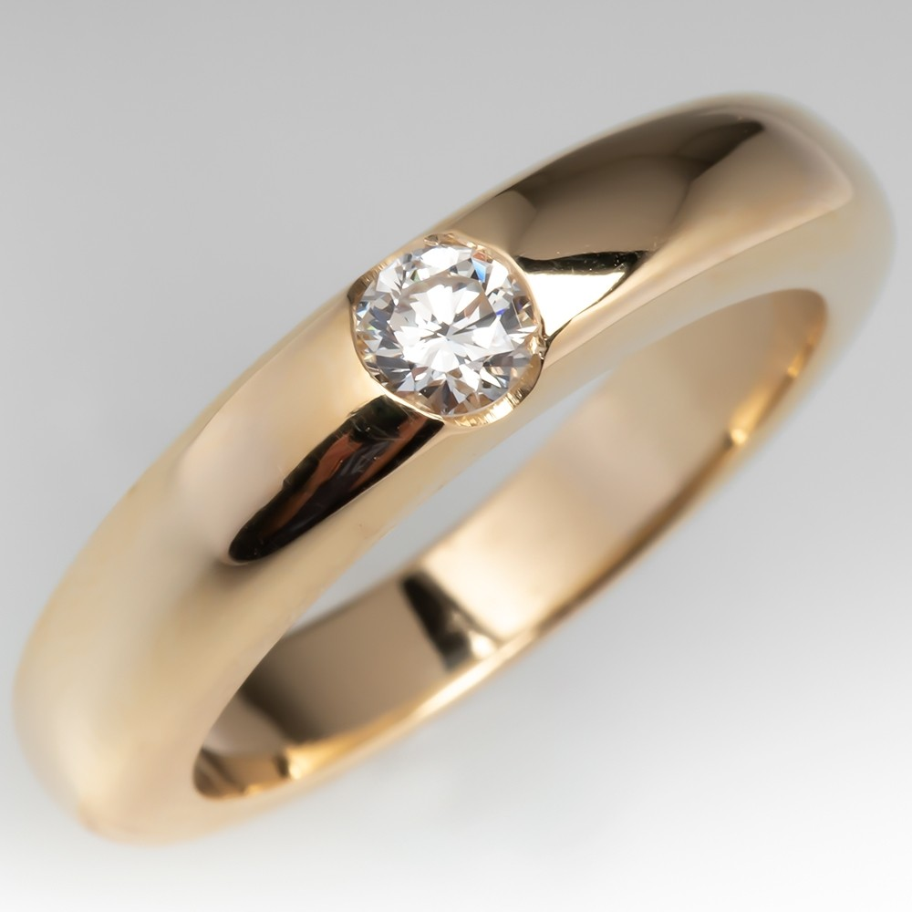 Solitaire Diamond Engagement Wedding Band Ring 14K Gold